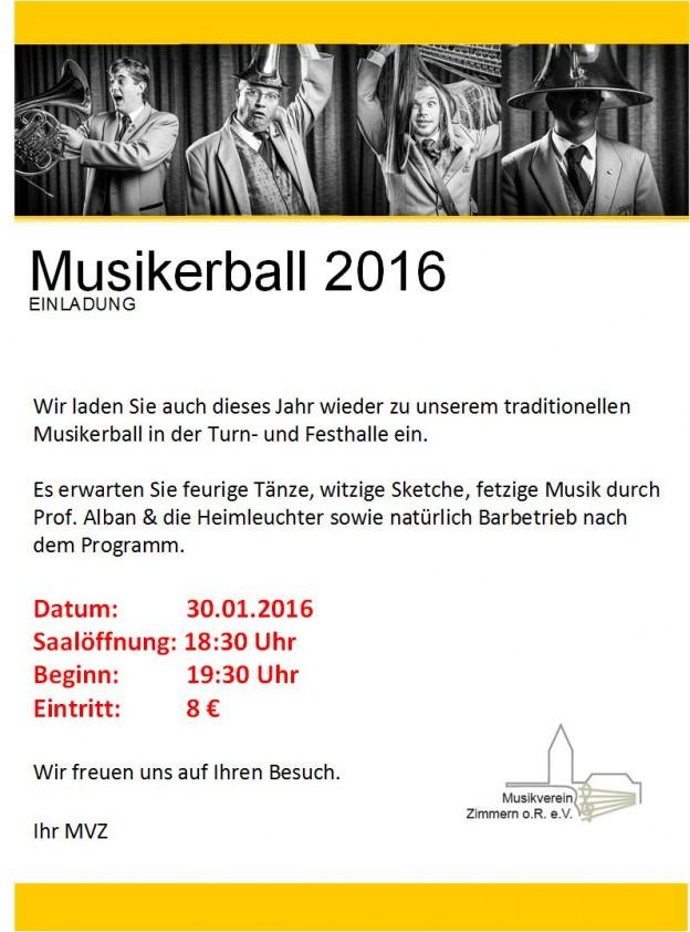 Flyer Musikerball 2016